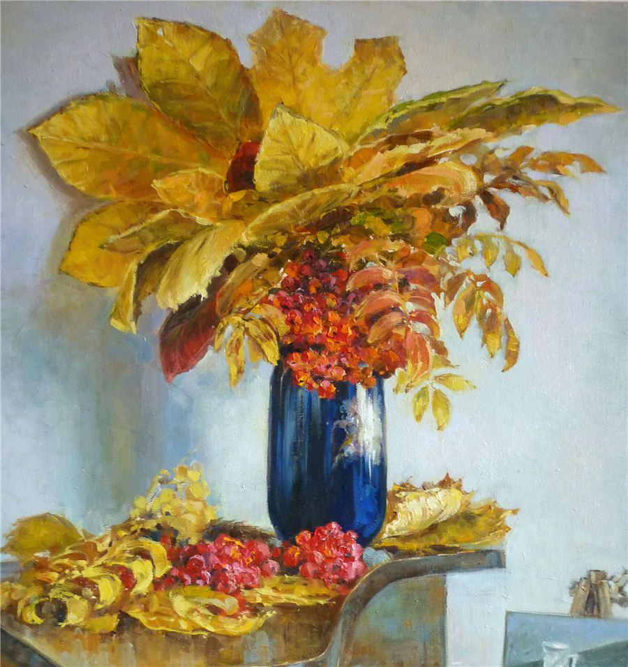 листья в вазе рисунок гуашью кубовидных плодов